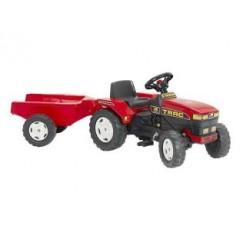 Falk Tractor Farm Trac Rood + Aanhanger