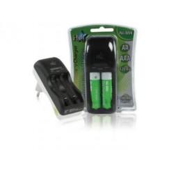 Hq Ch01e-13 Euro Plug-in Batterij Lader Inclusief 4x Aa 1300 Mah Batterijen