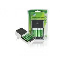 Hq Ch02e-27 Euro Plug-in Batterijlader Inclusief 4x Aa 2700 Mah Batterijen