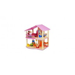 Pintoy My First Home Houten Poppenhuis Roze + Inrichting + 2 Popjes