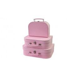 Simply for Kids 3-Delige Kofferset Polkadot Roze