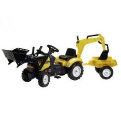 Falk Farmer Country Tractor met Aanhanger, Shovel en Graafarm 2-5