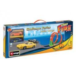 Burago Street Fire Twin Loop Racebaan met 2x 1:43 Auto